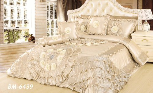 Tache Royal Wedding Chamber In Cream Queen Faux Satin/Sateen Comforter Quilt Set, 6 Piece front-616952