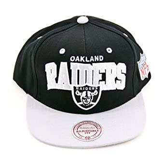 Mitchell & Ness Oakland Raiders Flat Brim Snap Back Hat Adjustable by Mitchell & Ness