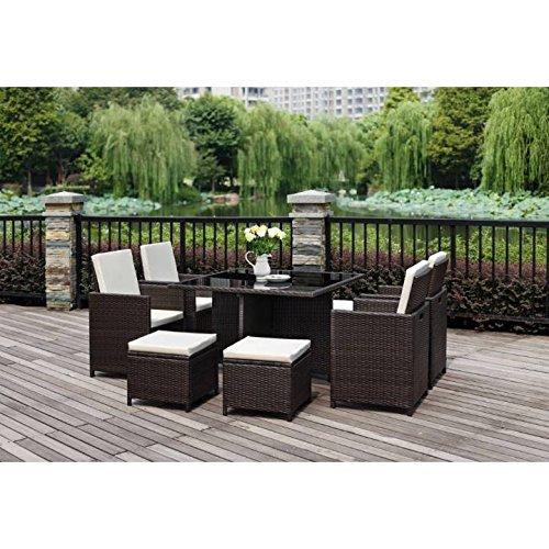 9 pezzi in rattan-set da pranzo da giardino, 4 sedie, 4 x 4 x, poggiapiedi-Coppia di cuscini seduta e schienale, 1 tavolo