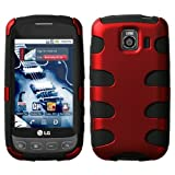 MyBat LGLS670HPCSK002NP Titanium Fishbone Protective Case for LG Optimus S/Optimus U/Optimus V - 1 Pack - Retail Packaging - Red/Black
