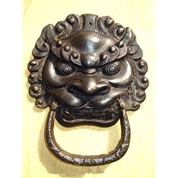 Chinese Lion Head Solid Brass Door Knocker Yrh012-s Vintageworld