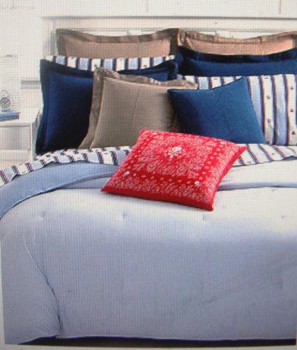 Ralph Lauren University Bedding Twin Oxford Comforter -Blue / Blue -White Stripe