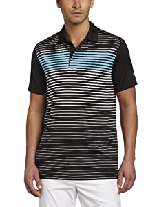 Puma Golf NA Men's Engineered Stripe Tech Polo Tee, Black/White, Large