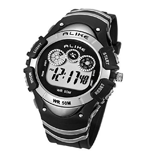 Pixnor GLEICHERMAßEN A5106 50M wasserdicht Studenten Sport LED Digital Armbanduhr mit Datum /Alarm Stoppuhr /LED Licht (Silber) günstig