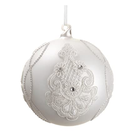 White 5-inch Victorian Style Rhinestone & Lace Glass Ball Ornament - Set of 4 by Silk Decor