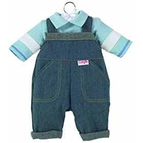 Corolle Denim Overalls Set, fits 12 inch baby dolls