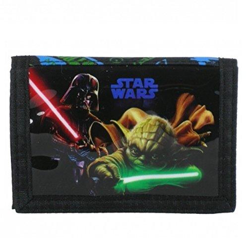 Maxi & Mini - Portafoglio, motivo: Star Wras, Darth Vader e Yoda, con più tasche, idea regalo