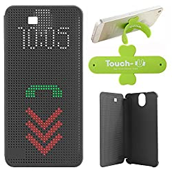 DMG Dot View Interactive Flip Cover Case for HTC One E9 Plus (Black) + Touch U Mobile Stand