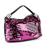 Hot Pink & Black Sequin Faux Leather Bag AJ23928