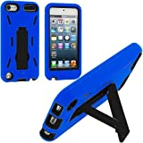 Importer520 Blue / Black Hybrid Rugged Hard Silicone Case Cover w/ Stand for Apple iPod Touch 5th Generation 5G 5