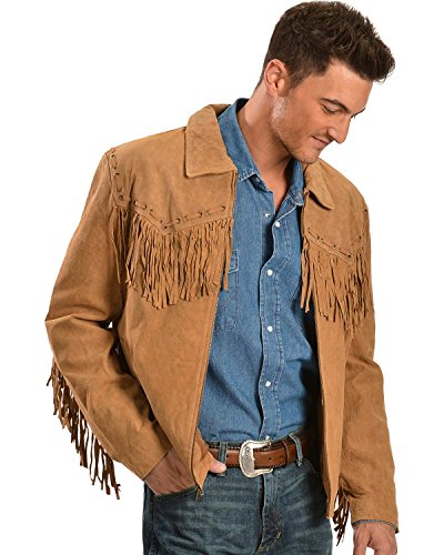 Scully Men`s Fringed Suede Leather Short Jacket Bourbon Medium