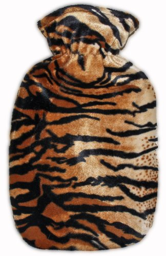 Warm Tradition Tiger Print Covered Hot Water Bottle - Bottle Made In Germany, Cover Made In Usa