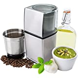 Andrew James Premium Stainless Steel Wet and Dry Coffee, Nut and Spice Grinder - Powerful 200 Watt Motor, Stainless Steel Blades - 2 Year Warranty