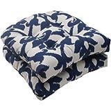 Pillow Perfect Indoor/Outdoor Bosco Wicker Seat Cushion, Navy, Set of 2