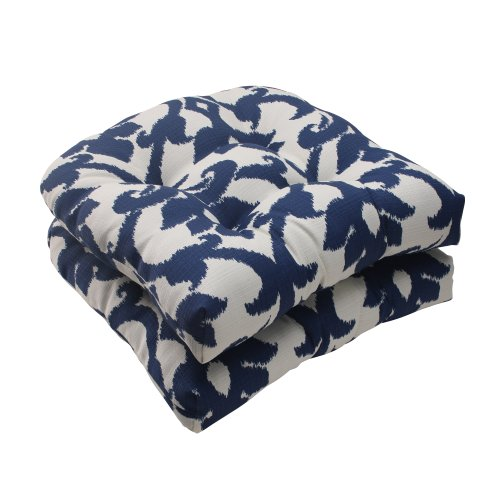 Pillow Perfect Indoor/Outdoor Bosco Wicker Seat Cushion, Navy, Set of 2 image