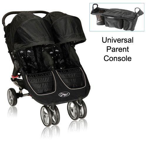 Baby-Jogger-12210-City-Mini-Double-Stroller-in-Black-Gray-with-Parent-Console