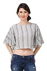 Brand Me Up women Aztec Print Round Neck Kimono sleeve Crop tops - M Size (White)