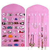 Supertech 32 pockets& 18 hook-and-loop tabs Hanging Jewelry Organizer (Not include metal hanger) Dual Sides Space-saving Household Accessory Holder Storage Bag (Mode B Pink)