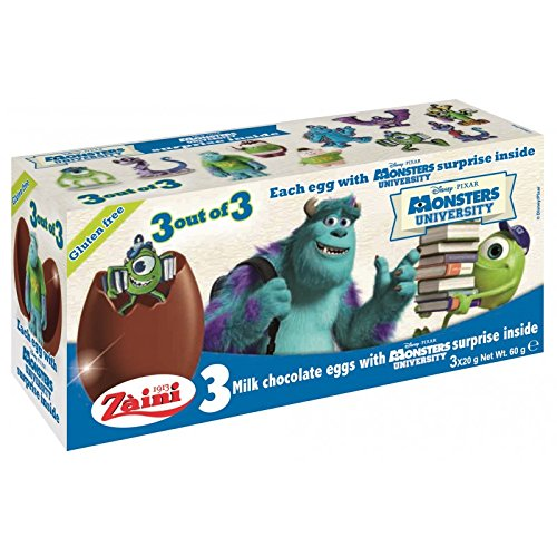 Disney MONSTERS UNIVERSITY Zaini Milk Chocolate with Surprise Collection 3 Eggs