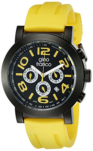 gino franco Men's 9620YL Round Multi-Function Stainless Steel PVD Plated Case Rubber Strap Watch