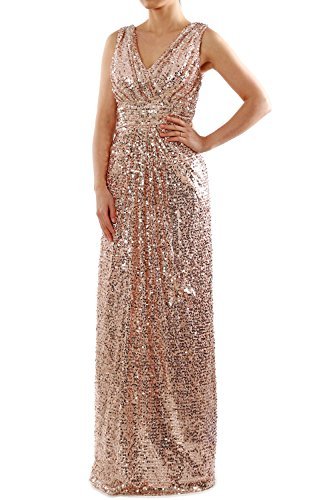 b942175775 MACloth Straps V Neck Sequin Ruched Long Bridesmaid Dress Formal Evening  Gown (16w