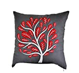 Dark Grey Pillow Cover, Decorative Throw Pillow Cover, Linen Pillow, Red Peacock Tree Embroidery, Cushion, Modern, Home Decor (20 inch x 20 inch)