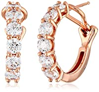 Gold Plated Sterling Silver Swarovski Zirconia Round Hoop Earrings (5.3 cttw) from Amazon Collection