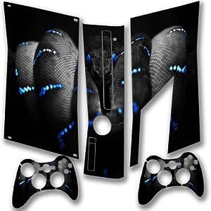 Dynamique 10004, Colubridae, Full Body Autocollant Skin Sticker de Protection Peau Vinyl Decal avec Motifs Colorés et Effet de Cuir pour Xbox 360 Slim Set Console de Jeu avec deux Controllers.