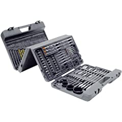 Unique four panel case folds three ways. Use with power drill, drill press or bit drivers. Set features: Drill bits, titanium coated drill bits, pilot drill bits, wood boring drill bits, flat wood bits, masonry drill bits. Also contains nut drivers, ...