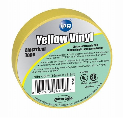 Intertape 4116 60' All Weather Colored Electrical Marking Tape, Yellow