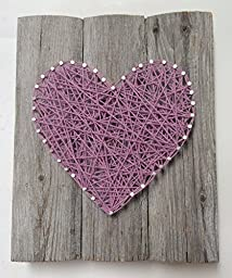 Large reclaimed wood Lavender string art heart sign -A unique Weddings, Anniversaries,Birthdays, Valentine\'s Day, Christmas, new baby girl and house warming gift.