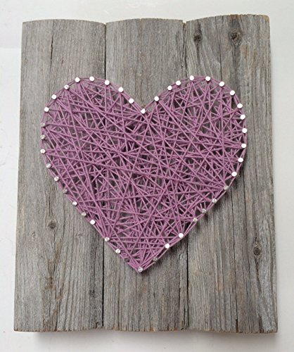 Large reclaimed wood Lavender string art heart sign -A unique Weddings, Anniversaries,Birthdays, Valentine's Day, Christmas, new baby girl and house warming gift.