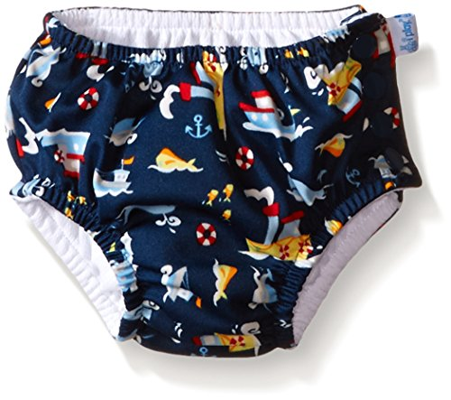 I play. Baby Boys' Snap Reusable Absorbent Swim Diaper, Navy Tugboat, 6 Months