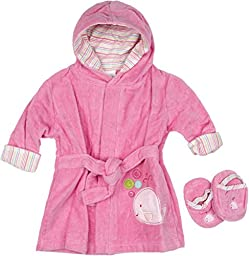 Big Oshi Baby Bath Terry Robe With Slippers, Pink, 0-9 Months