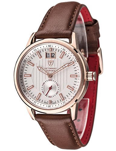 DETOMASO Ladies Watch Quartz Stainless steel case, leather band, sapphire glass, saphire glass CERVINIA Swiss Made Silver Classic DT3023-A / Brown
