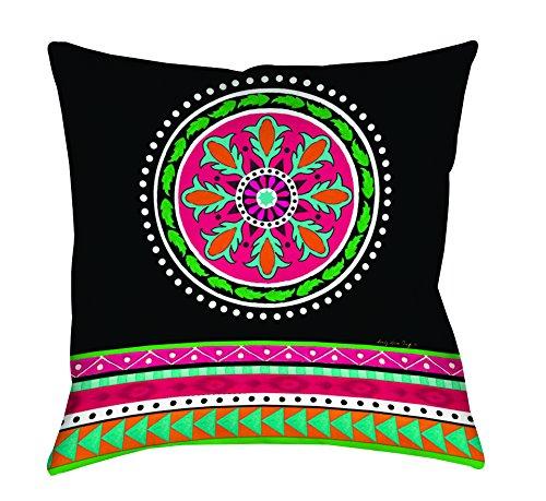 Thumbprintz Square Throw Pillow, 16-Inch, Boho Medallion Stripe, Black front-486080