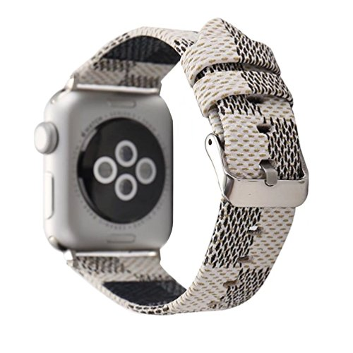 For Apple Watch Band 38mm Men Leather Iwatch Strap Replacement Band with Stainless Metal Classic Buckle for Apple Watch Series 3 Series 2 Series 1 (LV-42mm White)