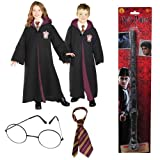 Harry Potter Deluxe Gryffindor kids Costume with Robe, Tie, Glasses and Wand (L)