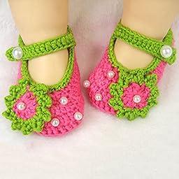 Newborn Baby Infant Girls Flower Bow Tie Crochet Knit Socks Crib Shoes Prewalker 0-12 Months (Type 3)
