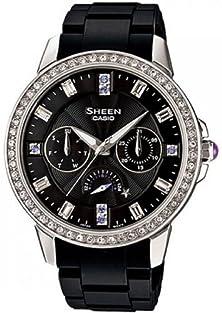 buy Casio Women'S Sheen She3023-1A Black Resin Quartz Watch With Black Dial