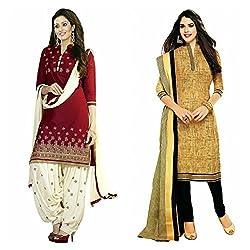 Sky Global Women's Printed Unstitched Regular Wear Salwar Suit Dress Material (Combo pack of 2)(SKY_Combo_357)(SKY_501_Maroon)(SKY_508_Beige)