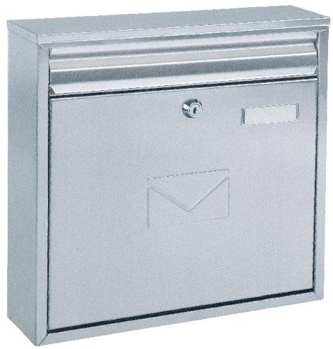 Briefkasten Teramo Edelstahl, mit Einwurfmöglichkeit von vorne und hinten, Zylinderschloss mit 2 Schlüssel, Zaunbriefkasten