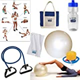 Exercise Ball and Resistance Band Fitness Kit - With Extras Towel-bag-bottle-pump !! WOW