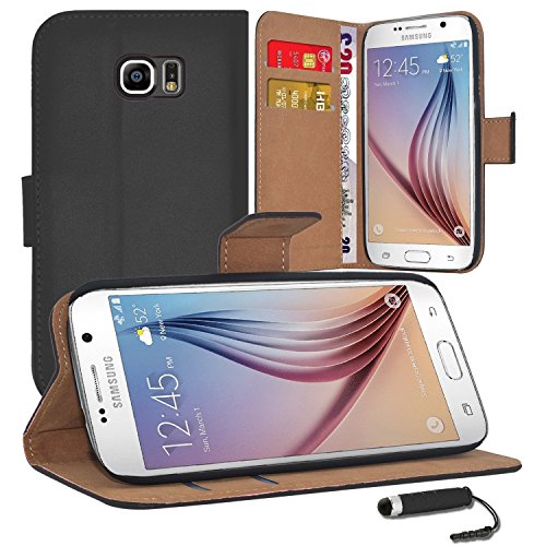 Samsung Galaxys S7// S7 Edge - Premium Leather Book Wallet Case Cover Pouch + Screen Protector With Microfibre Polishing Cloth + Touch Screen Stylus Pen CHOSE YOUR PHONE MODEL FORM THE DROP DOWN MENU (S7 EDGE GLAXY, BLACKKK)