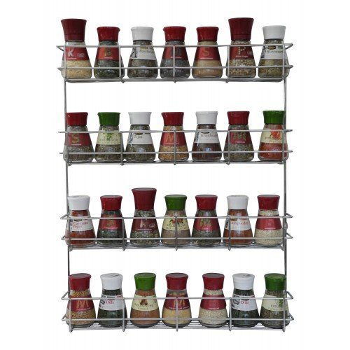 4 Tier Spice Rack - Cabinet Door and Wall Mountable Spice Rack - Herb Rack Chrome - Kitchen Cupboard Storage Organizer by Copa Design® - Holds 32 Jars (Over The Range Spice Rack compare prices)