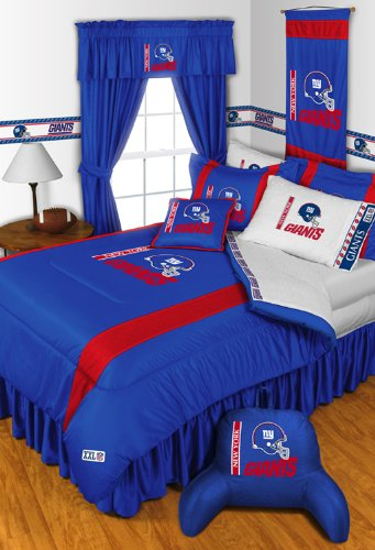 New York Giants 3 Pc TWIN Comorter Set and One Matching Window Valance/Drape Set - (1 Comforter, 1 Sham, 1 Bedskirt, 1 Matching Window Valance/Drape Set) SAVE BIG ON BUNDLING! at Amazon.com