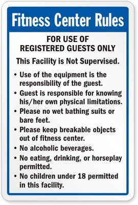 """Fitness Center Rules Sign, 24"""" x 18"""": Industrial Warning ..."""