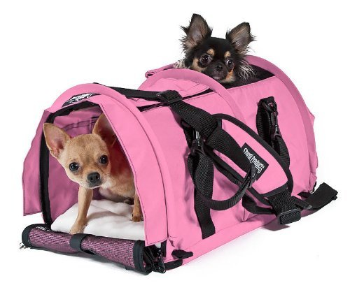 Sturdibag Large Divided Pet Travel Carrier Carry 2 Pets in 1 Carrier, Airline,aaa Approved Pet Travel Carrier Tote, Size Large 18″l X 12″w X 12″h (Prior to Flexing Down) (Soft Pink)