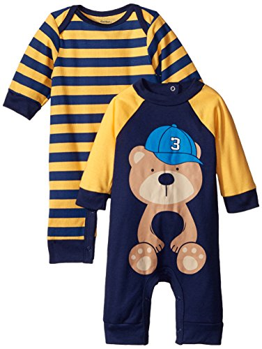 Gerber Baby-Boys Newborn Navy Bear 2 Pack Coverall, Navy Bear, 0-3 Months