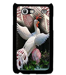 ColourCraft Beautiful White Peacock Design Back Case Cover for SAMSUNG GALAXY S ADVANCE I9070
